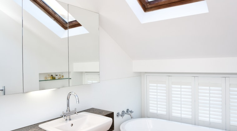 View of this remodeled contemporary bathroom architecture, bathroom, ceiling, daylighting, floor, home, house, interior design, real estate, room, window, white