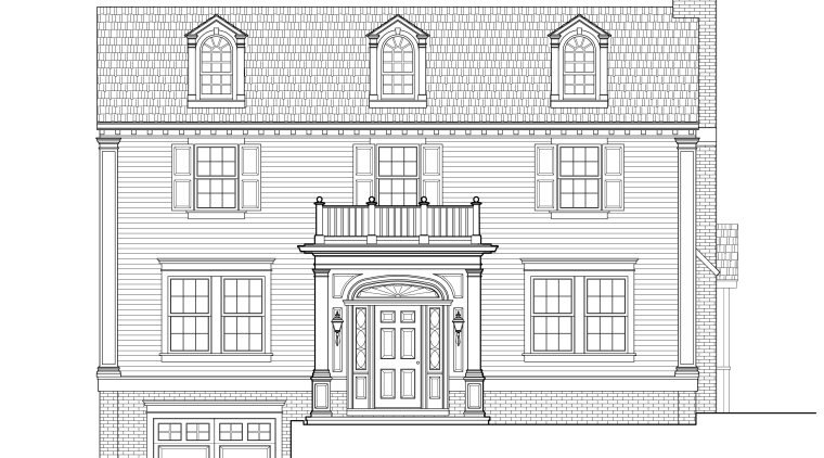 Exterior view of this traditional remodeled home architecture, area, artwork, black and white, design, diagram, drawing, elevation, estate, facade, floor plan, home, house, line, line art, plan, product, product design, property, structure, technical drawing, white