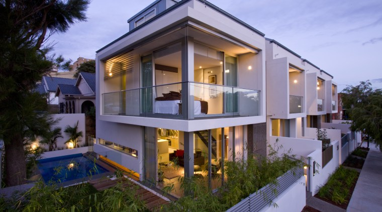 Exterior view of town house featuring cantilevered balconies apartment, building, elevation, estate, facade, home, house, mansion, property, real estate, residential area, villa, blue