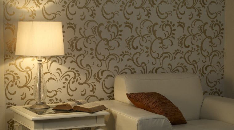 View of the wallcoverings by Pacific Wallcoverings ceiling, chair, couch, decor, floor, furniture, interior design, lighting accessory, living room, room, table, wall, wallpaper, brown