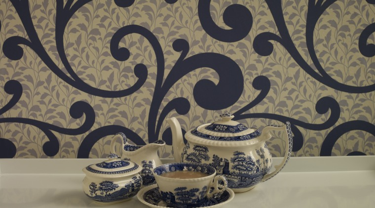 View of the wallcoverings by Pacific Wallcoverings blue and white porcelain, ceramic, design, dishware, pattern, plate, platter, porcelain, tableware, brown