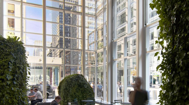 Interior view of the Bank of America Tower apartment, architecture, building, condominium, courtyard, daylighting, lobby, mixed use, structure, tree, window, gray