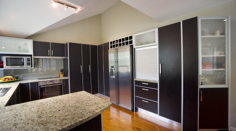 View of the contemporary kitchen cabinetry, interior design, kitchen, real estate, room, gray, black