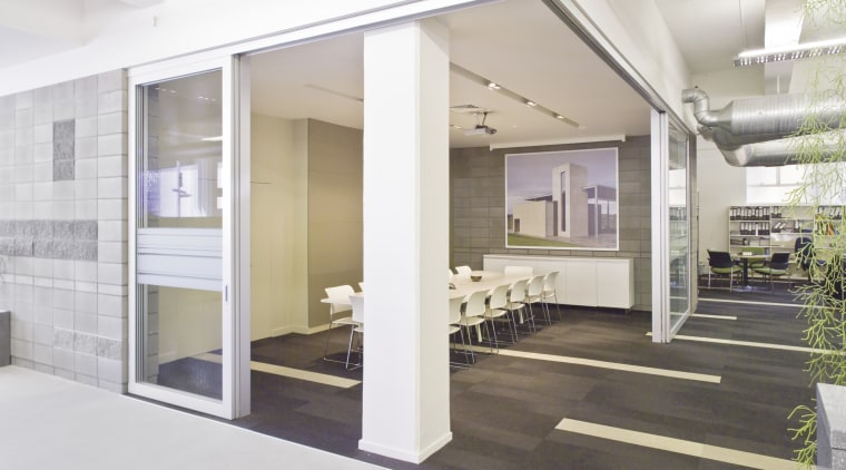 Interior view of offices which features glass cavity architecture, house, interior design, real estate, white