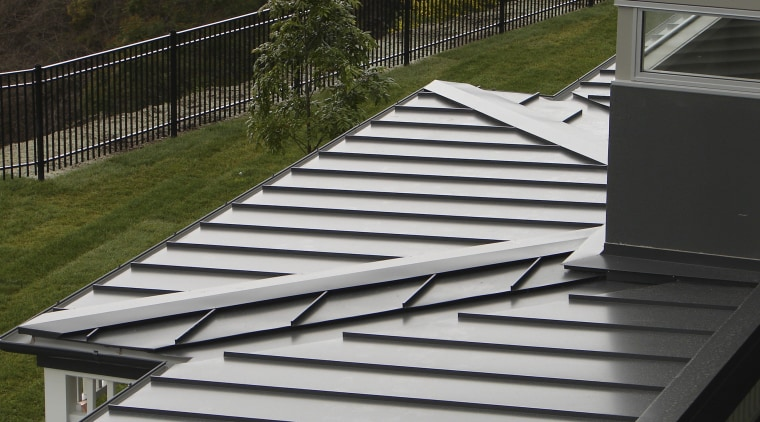View of the roofing by Roofing Industries architecture, daylighting, deck, handrail, house, line, outdoor structure, roof, stairs, gray, black, brown