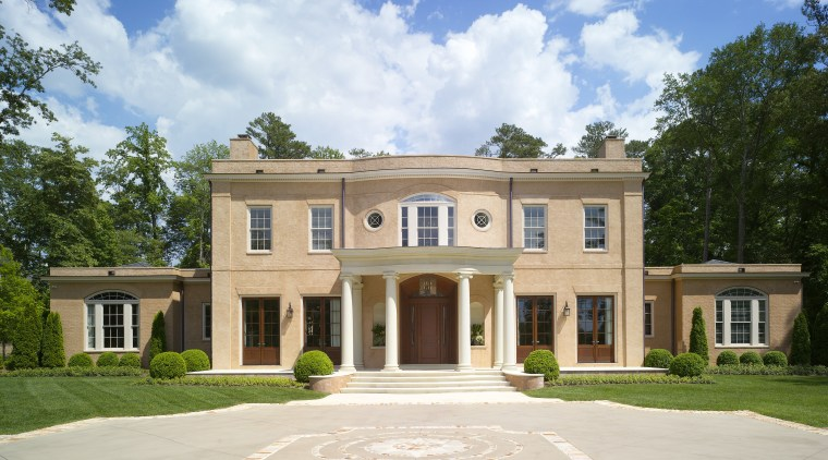 Exterior view of a Regency-styled home. building, elevation, estate, facade, historic house, home, house, manor house, mansion, official residence, plantation, property, real estate, residential area, white