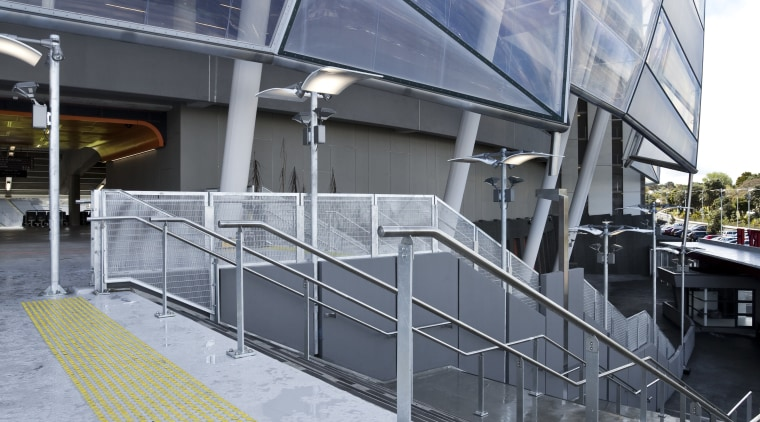 View of a stairway at Eden Park which architecture, building, commercial building, corporate headquarters, daylighting, facade, metropolitan area, mixed use, structure, gray