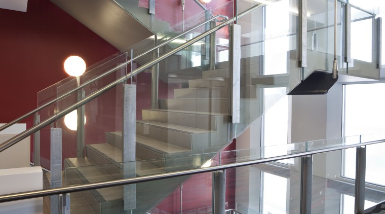 View of stainless steel handrails at the newly apartment, architecture, building, ceiling, daylighting, glass, handrail, interior design, stairs, structure, gray