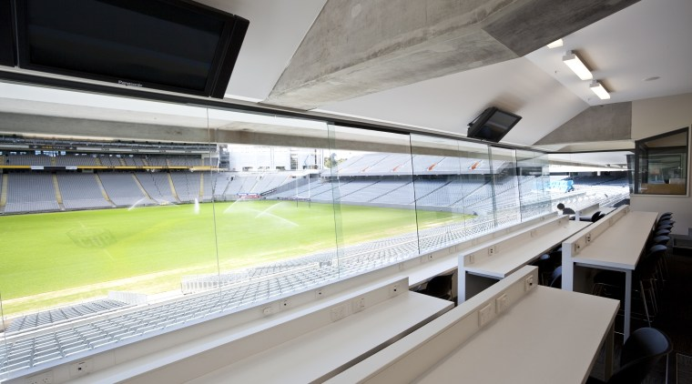 View of the coaches box which features communications architecture, glass, leisure centre, sport venue, structure, gray