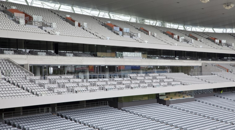 view of the grand stands at the newly arena, sport venue, stadium, structure, gray