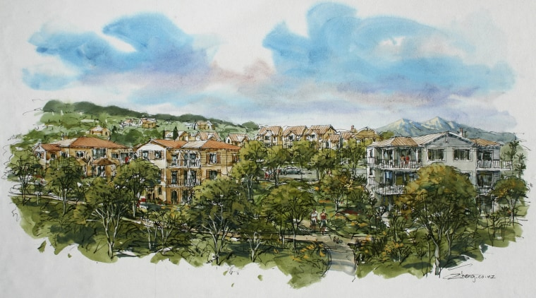 Conceptual drawings of the Tahuna Ridge designed by home, paint, painting, residential area, sky, tree, watercolor paint, white