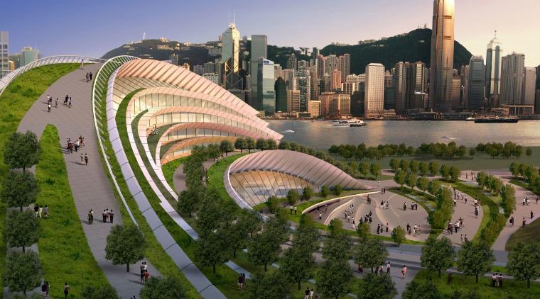 Conceptual image of the West Kowloon Terminus which aerial photography, bird's eye view, city, cityscape, daytime, landmark, metropolis, metropolitan area, mixed use, residential area, sky, skyline, skyscraper, urban area, urban design, brown