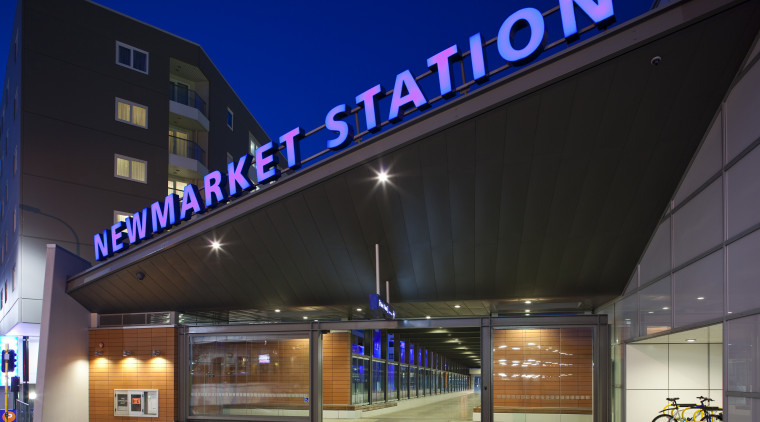View of the upgraded New Market train station. architecture, building, facade, night, structure, black
