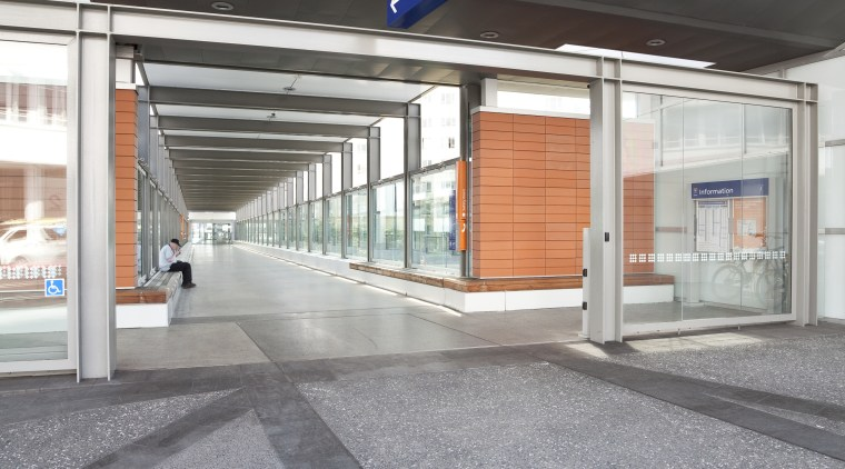 View of the corridor at the upgraded New architecture, daylighting, metropolitan area, gray, black