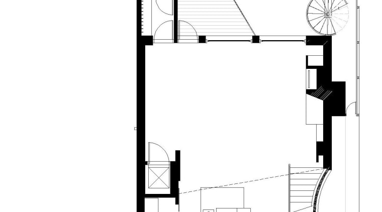 View of a renovated three-story home, built to angle, architecture, area, black and white, design, diagram, drawing, elevation, floor plan, font, line, plan, product, product design, schematic, structure, white