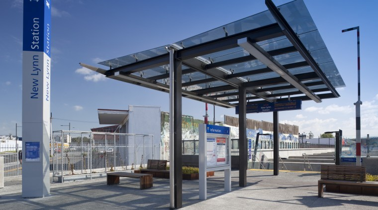 Specialist architectural glazing company Glass Projects supplied and bus stop, gray, blue