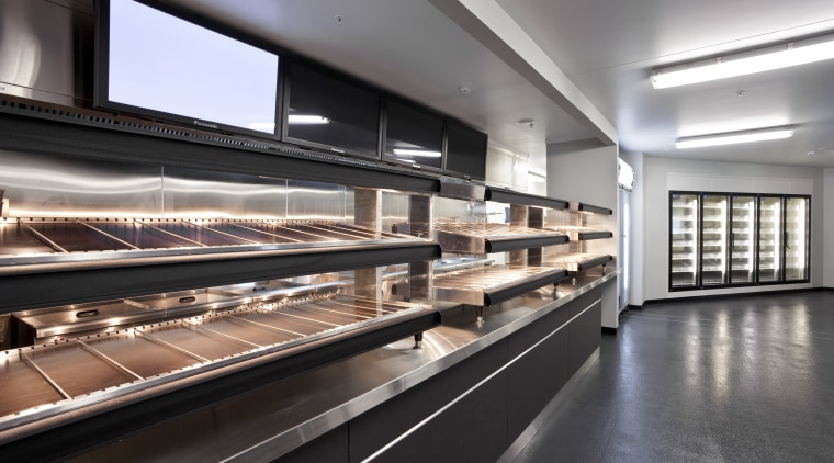 View of the front-of-house of a kitchen at black, gray