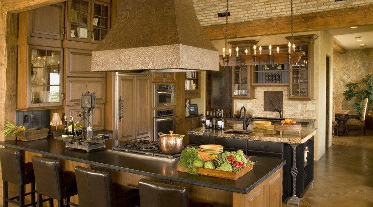 View of kitchen with barrel ceiling, light cabinets countertop, interior design, kitchen, brown, orange