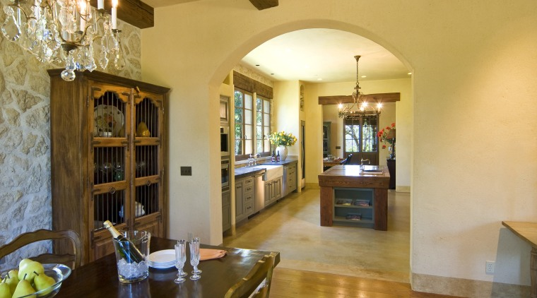 View of kitchen with old-style hearth, clay tile ceiling, dining room, estate, home, interior design, living room, property, real estate, room, orange, brown