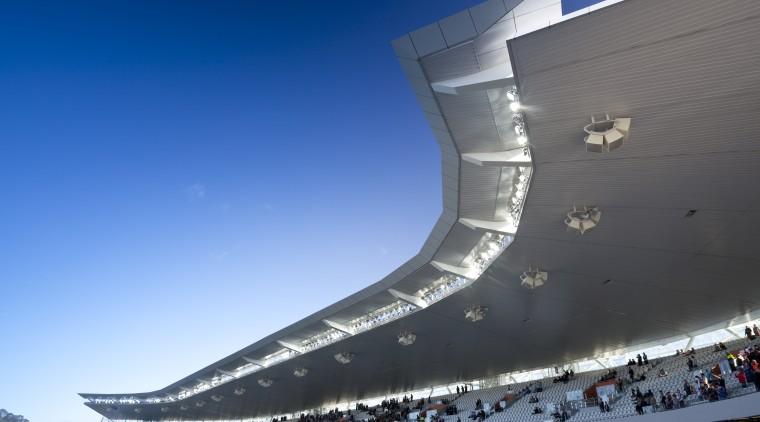 View of the new South Stand at the air travel, architecture, arena, atmosphere of earth, fixed link, sky, sport venue, stadium, structure, blue