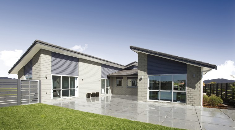 Exterior view of Platinum Homes show home in elevation, estate, facade, home, house, property, real estate, residential area, siding