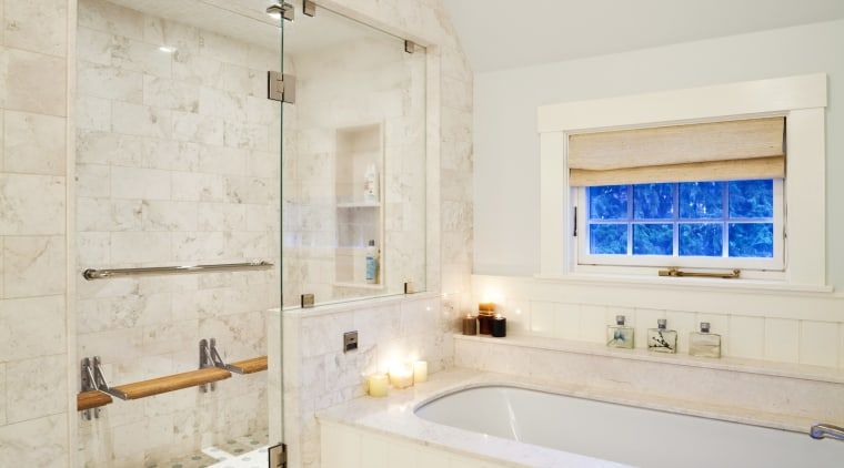 View of the bathroom with tiled floors, a bathroom, ceiling, daylighting, estate, floor, flooring, home, interior design, real estate, room, tile, gray