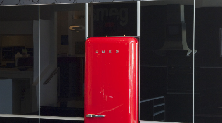 View of kitchen which features a Smeg 50s interior design, product design, red, black