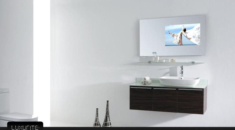 View of white bathroom and waterproof LCD television bathroom, bathroom accessory, bathroom cabinet, furniture, product, product design, tap, white