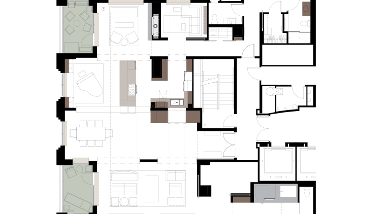 View of an apartment kitchen with dark-toned cabinetry, angle, area, design, elevation, floor plan, font, line, plan, product, product design, schematic, square, text, white