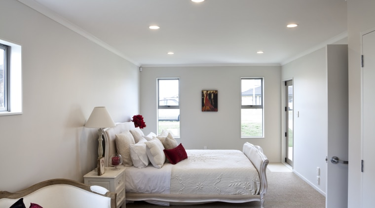 View of a bedroom where the interior designing architecture, bedroom, ceiling, daylighting, estate, floor, home, house, interior design, real estate, room, wall, gray