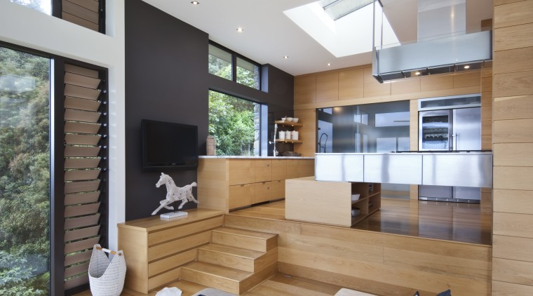 Raised floor kitchen. Stainless steel Binova cooktop. American architecture, house, interior design, living room, real estate, window, gray