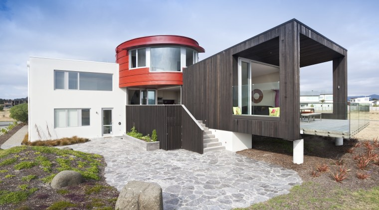 View of red, black and white beach house architecture, building, facade, home, house, real estate, white