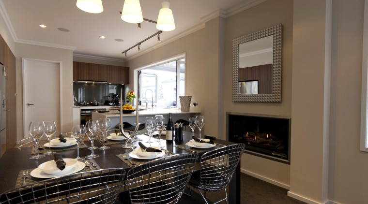 View of a renovated show home kitchen designed countertop, dining room, home, interior design, kitchen, real estate, room, brown