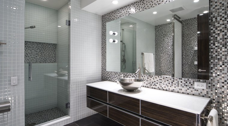 View of apartment bathroom designed by Design Elements bathroom, ceiling, floor, flooring, interior design, room, tile, wall, gray