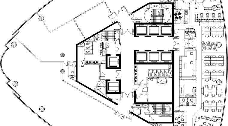 View of the Accenture office in Kuala Lumpur, area, black and white, diagram, drawing, floor plan, line, plan, product design, structure, technical drawing, white