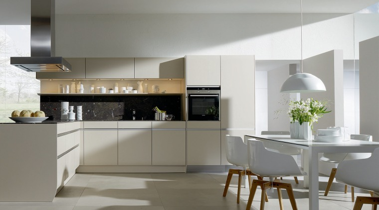 Contemporary, kitchen, dining, white chairs cabinetry, countertop, cuisine classique, floor, flooring, interior design, interior designer, kitchen, product design, gray