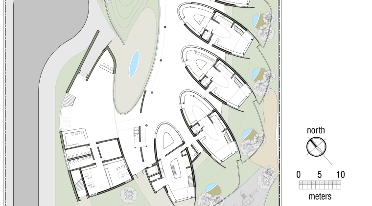 Floorplan of Dalian Preschool, with curvilinear forms and area, design, diagram, font, joint, line, organ, organism, plan, product design, text, white