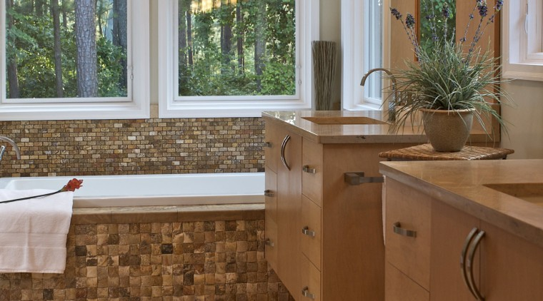 View of modernized bathroom with mosaic design tub bathroom, cabinetry, countertop, estate, floor, flooring, hardwood, home, interior design, kitchen, laminate flooring, real estate, room, tile, wall, window, wood, wood flooring, brown, gray