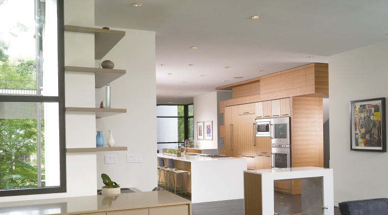 View of storage and shelving in living area architecture, ceiling, daylighting, floor, house, interior design, kitchen, living room, real estate, gray