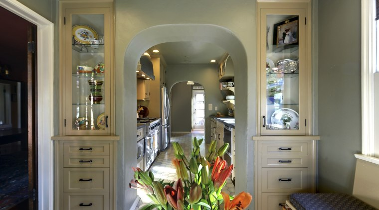 View of Spanish-style home with open shelving and cabinetry, home, interior design, living room, room, window, gray, brown