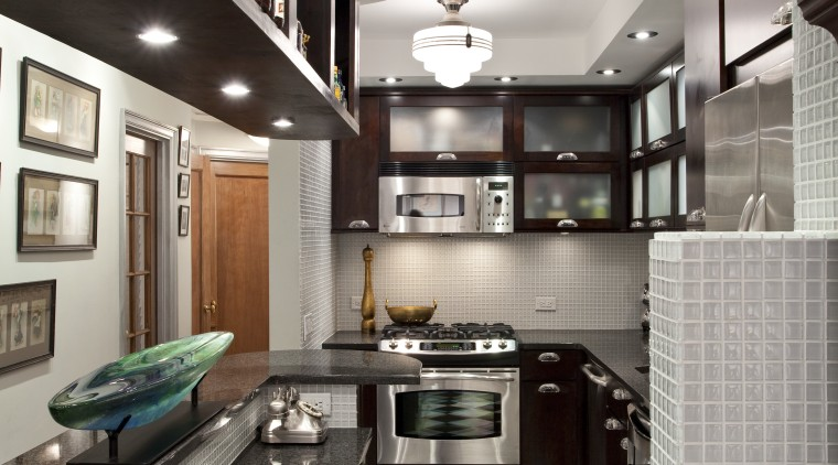 View of kitchen in Art-Deco styled apartment building, ceiling, countertop, home, interior design, kitchen, room, gray, black