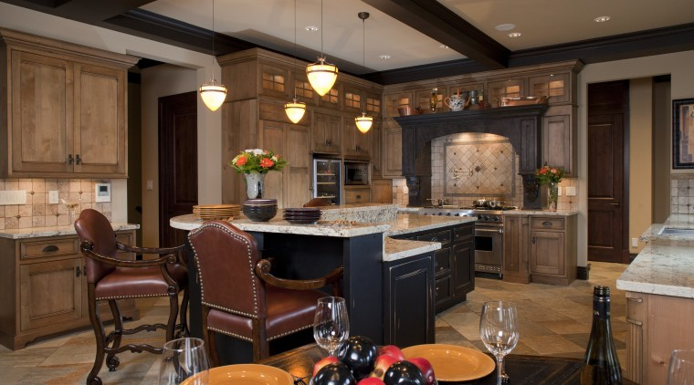 View of kitchen with aged look, featuring internally countertop, interior design, kitchen, room, brown
