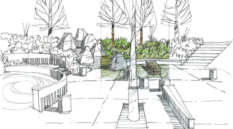 View of Remarkables Primary School in Queenstown. area, artwork, black and white, design, drawing, illustration, line, line art, plant, product design, sketch, tree, urban design, white
