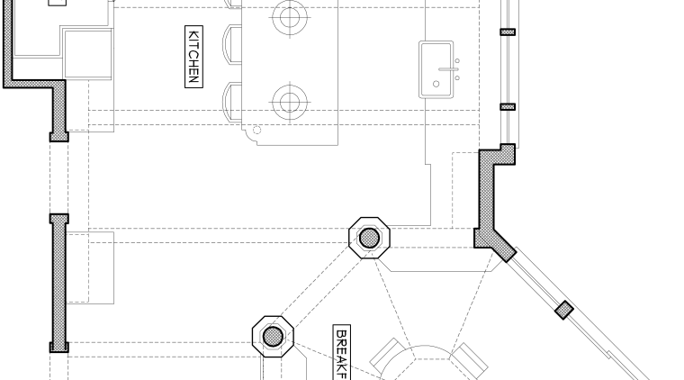 View of floor plan of house. angle, area, black and white, design, diagram, drawing, floor plan, line, plan, product, product design, structure, technical drawing, white
