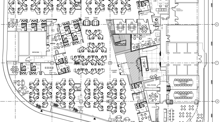 Floorplan of the Solaris building with AutoDesk fit-out, area, artwork, black and white, design, diagram, drawing, floor plan, line, line art, plan, residential area, technical drawing, text, white