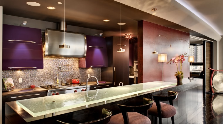 View of kitchen with hood by Zephyr Ventilation, ceiling, countertop, interior design, kitchen, lighting, room, red, brown