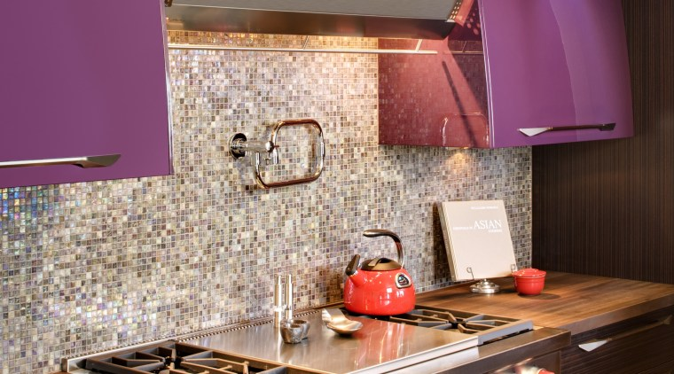View of kitchen with hood by Zephyr Ventilation, countertop, interior design, kitchen, room, red