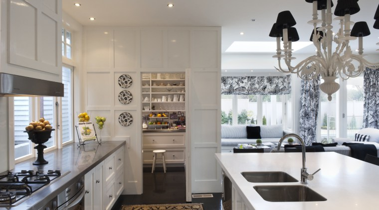 Creating a new tradition This kitchen references the countertop, cuisine classique, home, interior design, kitchen, room, gray