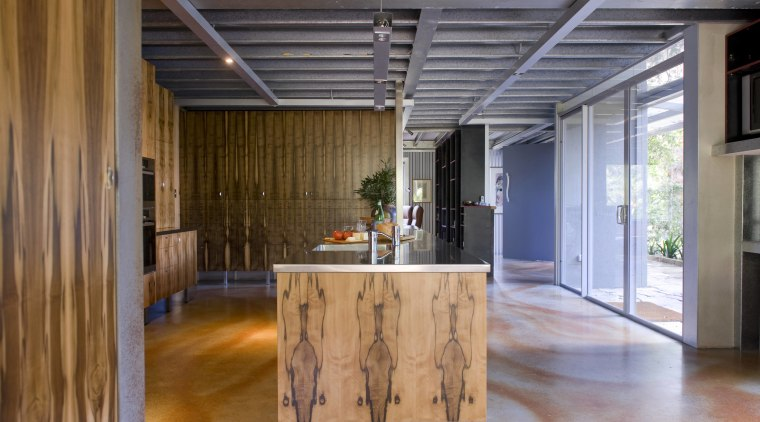 The house and kitchen designed by Jonothan Grose-Jong architecture, ceiling, floor, flooring, hardwood, house, interior design, loft, real estate, table, wood, wood flooring, brown, gray