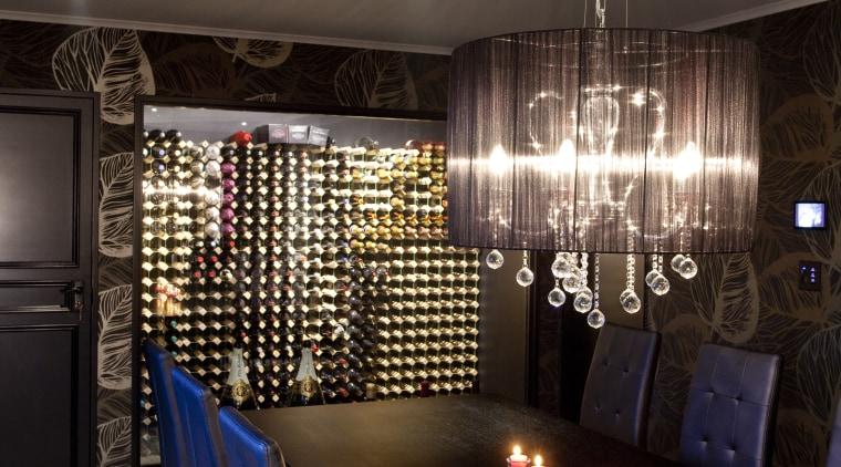 Kitchen designed by Leonie Von Sturmer of Von ceiling, dining room, home, interior design, light fixture, lighting, restaurant, room, table, wall, black